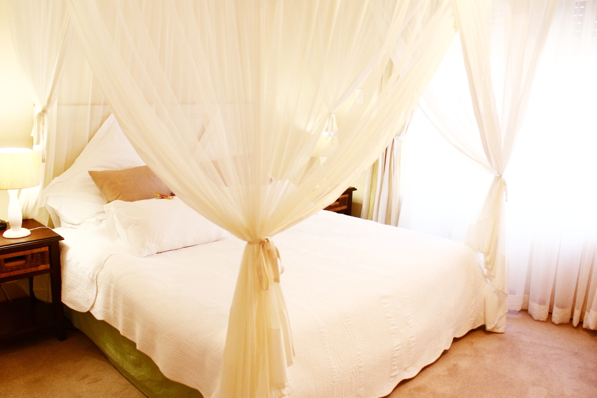 Double bed with mosquito netting