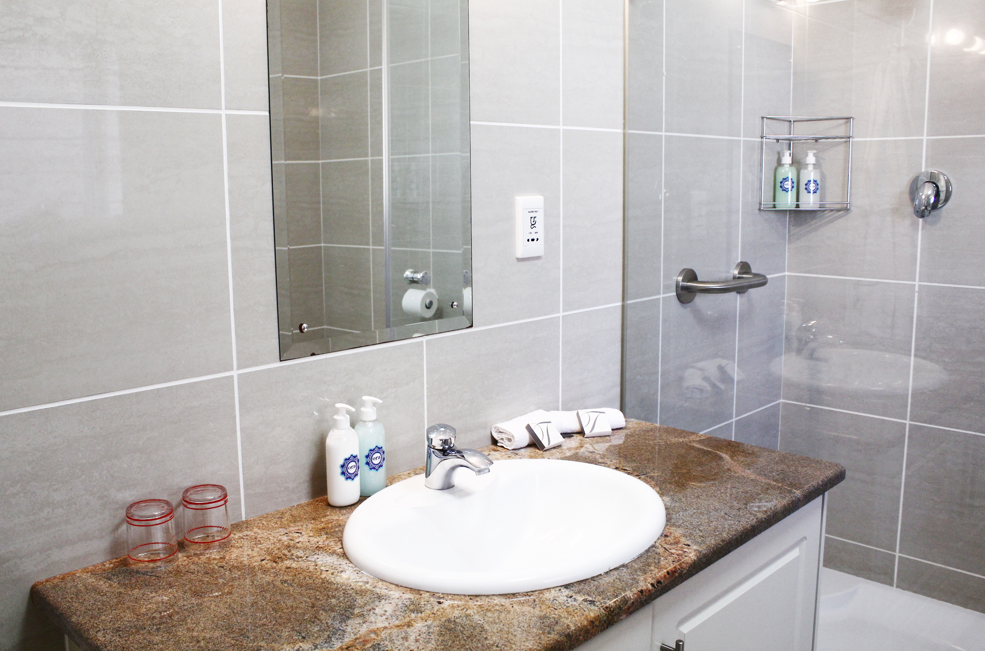 Bathroom sink and a shower with hand soap and hand cream