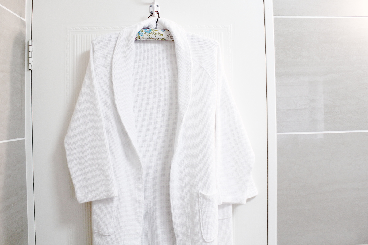 Bathroom door with bathroom gown